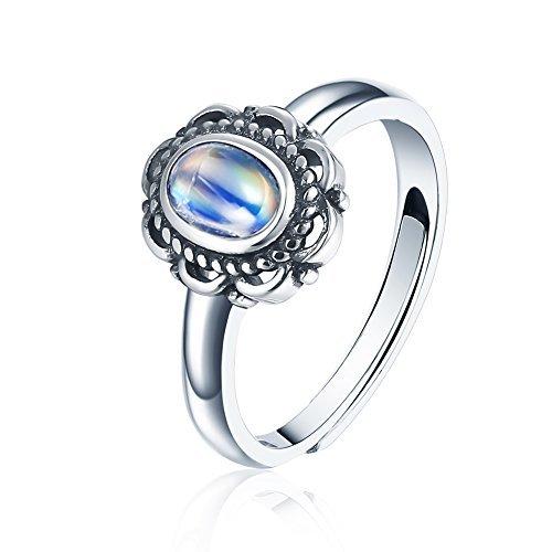 Blue Moonstone Ring (Luna Azure Natural Blue Moonstone 925 Sterling Silver Vintage Flower Adjustable Ring)
