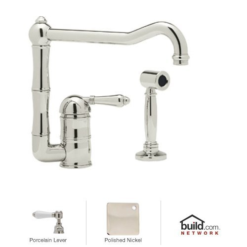 Country Single Handle Kitchen Faucet Finish: Polished Nickel, Side Spray: With Side Spray, Handle Type: Porcelain lever - Country Kitchen Porcelain Lever