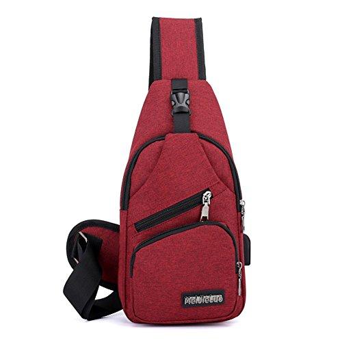 Kigurumi Pockets For Backpack Men Bag Sling Chest Red Shoulder ZCfqrwZX