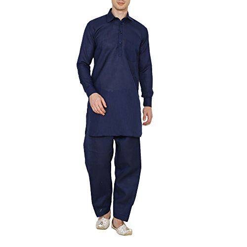 Royal Kurta Pathani Suit For Men Cotton Linen Blend-Navy (40)