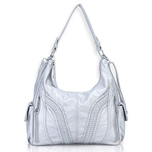 Angel Barcelo Roomy Fashion Hobo Womens Handbags Ladies Purse Satchel Shoulder Bags Tote Washed Leather Bag Sliver