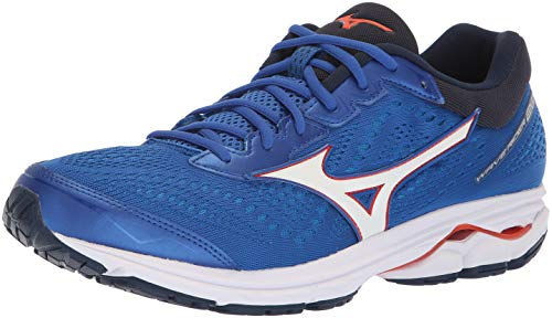 (Mizuno Men's Wave Rider 22 Running Shoe nautical blue/cherry tomato, 10 D US)