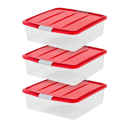IRIS USA BCB-SQ Wreath Storage Box, 3 Pack, Red, 3 Count