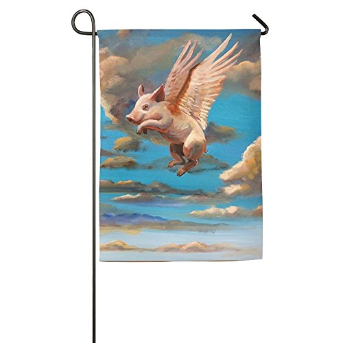Personalized Flying Pig Animal Winter Patio Yard House Garden Flags 12 X 18 Semi Transparent Polyester Fiber Emblemize