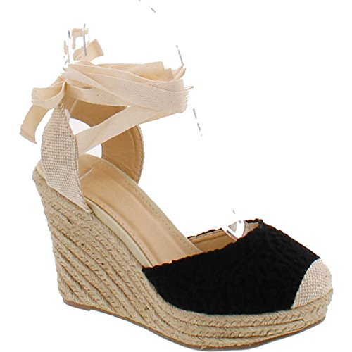 Wild Diva Maegan-32 Women Floral Crochet Ankle Wrap Slingback Espadrille Wedge - Black,Black,6.5 ()