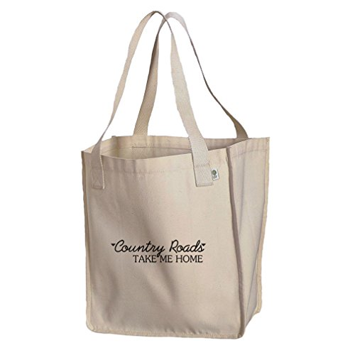 Market Tote Organic Cotton Canvas Country Roads Take Me Home By Style In Print