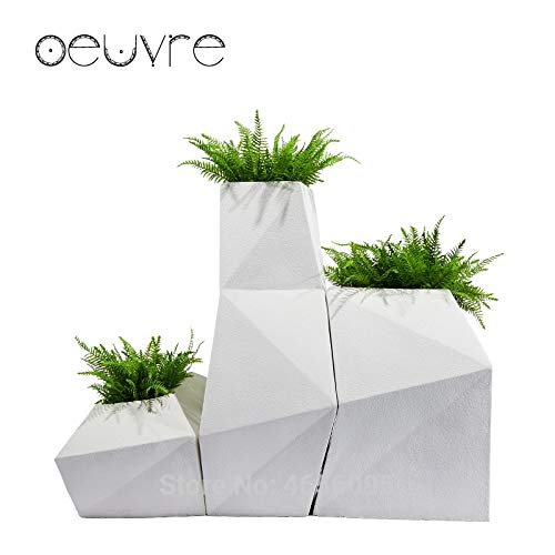 (Fotcus - Oeuvre creative diamond-shaped floor large vase outdoor glass steel flower pot mall flower hotel geometric ornaments - (Color: White sandstone, Sheet Size: 67X61X80CM))
