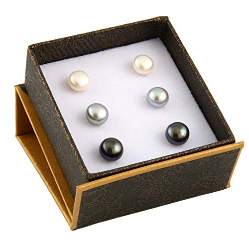 Boxed Set 3 pairs 8mm Genuine Freshwater Cultured Pearl Stud Earrings in 925 Sterling Silver (White, Grey, Peacock Black)