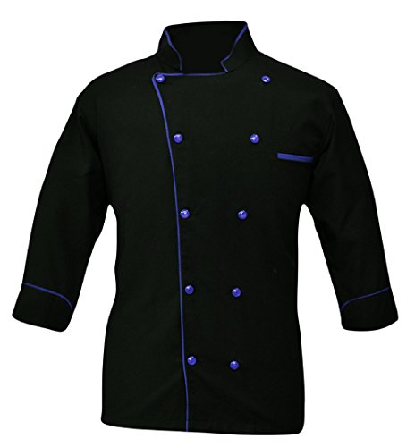 -05 Men's Chef Coat (Size-XXL, Piping Colour Blue) ()