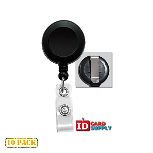 10 x Black Badge Reel With Clear Vinyl Strap & Belt Clip