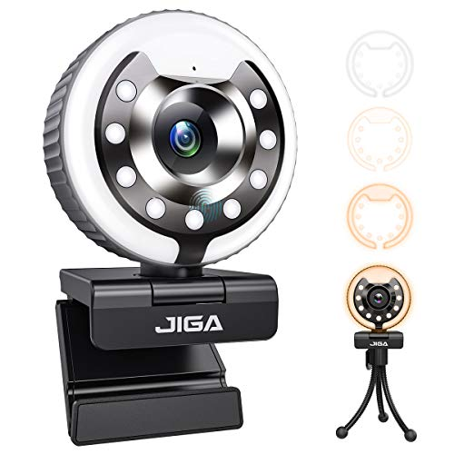 1080P Webcam with Microphone and Ring Light, JIGA Streaming Webcam Plug and Play HD USB Web Camera Advanced Auto-Focus Adjustable Brightness Privacy Protection for PC Desktop, Laptop, Mac, Gaming