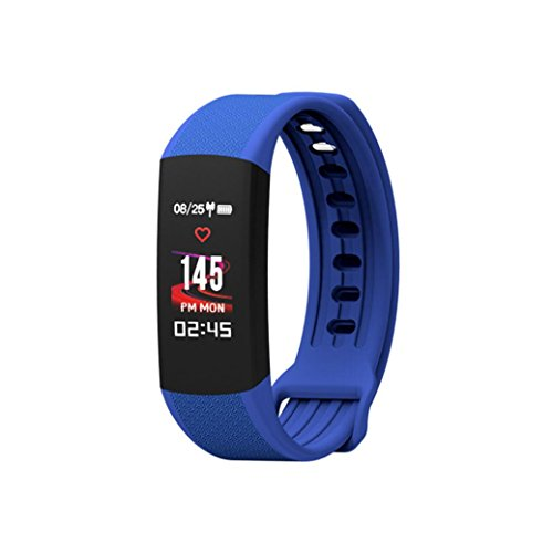 Lywey Smart Watch Fitness Waterproof Call Message Bluetooth Pedometer Sedentary Remind Sleep Monitor Heart Rate Tracker Blood Pressur For Android Samsung S8/S9 Plus For iPhone 6 6S 7 8 Plus X (Blue) Silent Light Phone Ring Sensor