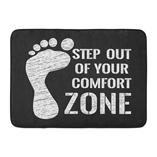GOLLEY Doormats Bath Rugs Outdoor/Indoor Door Mat Inspirational Motivational Quote Step Out of Your Comfort Zone Chalk Text Abstract Bathroom Decor Rug 24x16 - 283 Lighting Bath