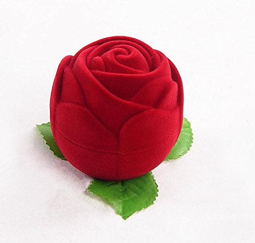 Jewelry Box-1 Pc Velvet Rose-shaped Jewelry Box, Ring box Earring Box,Romantic Engagement,Wedding,Valentine's ()