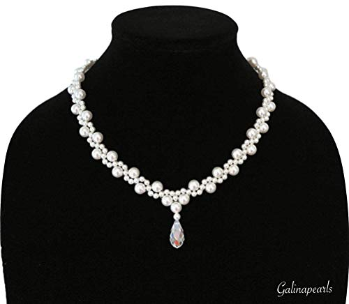 Handmade SWAROVSKI Crystal White Pearl Necklace For Women AAA-Quality Clear Crystal Teardrop 925 Sterling Silver Clasp. (White Engagement Necklace)