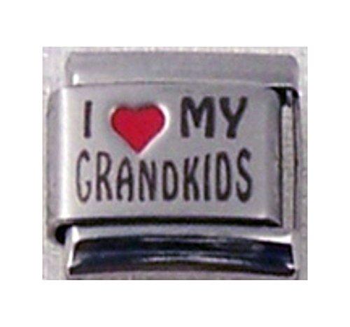 Stylysh Charms Grandkids I Love My Grandkids RH Laser Italian 9mm Link FA004 -