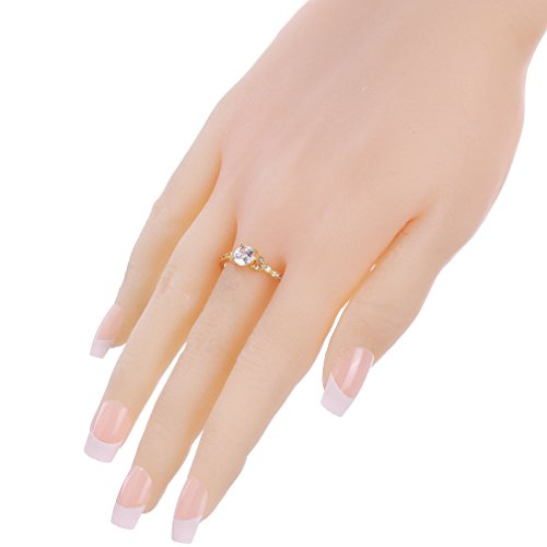 YAZILIND Gold Plated Round Cubic Zirconia Ladies Wedding Band Anniversary Ring by YAZILIND (Image #3)