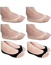 6 Pairs Womens Peep Toe Socks, Toeless Cotton No Show Socks Non Slip Shoe Liner Open Toe Socks