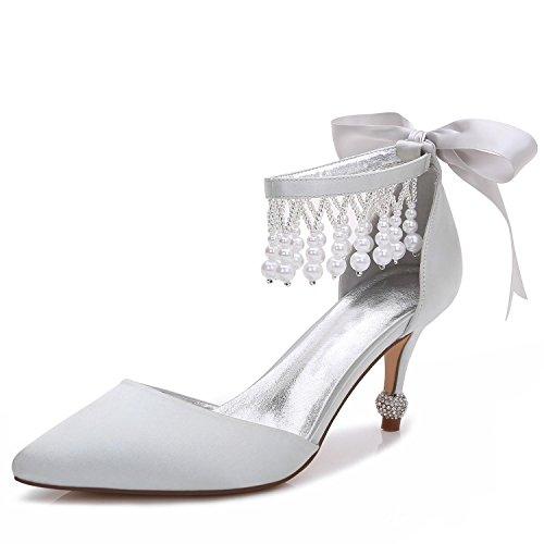 Otoño yc 18 Mujer Noche Satinado Y Primavera Boda Tacón L Alto Silver F17767 Colgante De Plataforma Vestido Zapatos Para 1xdCq4CO