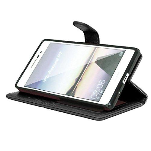 Moonmini® Huawei Ascend P7 Funda, Premium PU Cuero Funda Cartera Tapa Carcasa para Huawei Ascend P7, Negro