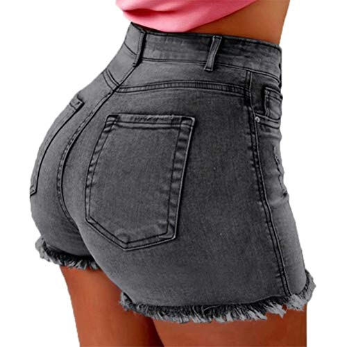 ThusFar Women's Summer Frayed Raw Push Up 5 Pockets High Waist Skinny Stretch Fitted Body Enhancing Denim Shorts Jeans Gray XXL