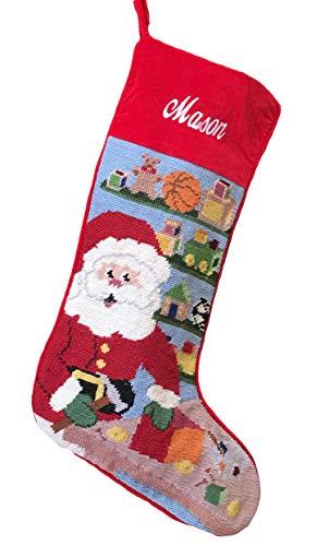 Needlepoint Christmas Stocking: Workshop Santa