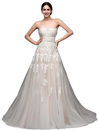 Beauty-Emily Sin mangas del cordón Escote Corazón del vestido de boda del tizón de la capilla Champagne