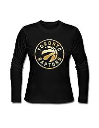 Hqexm Women's Toronto Raptors Gold Logo Long Sleeve T Shirt