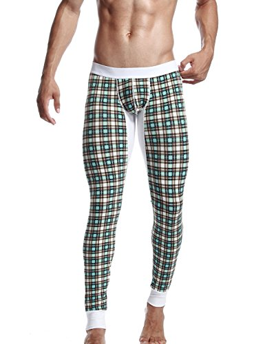 SEOBEAN Low Rise Mens Underwear Pants Long John Grid Cotton 2272...
