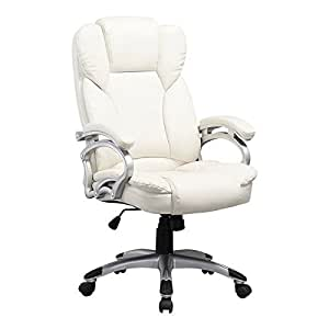 Corliving White Leatherette Executive Office