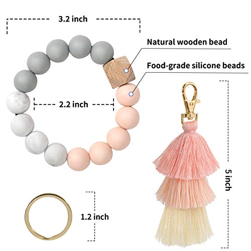 Keychain Bracelet Wristlet, YUOROS Bead Key Ring Chain for Women with Bohemian Tassel for Car (Pink)