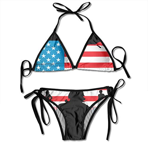 Sexy Bikini Sets Swimsuit for Women, Adjustable Straps Beachwear Halter Swimwear Top Bathing Suit for Vacation Beach Swim - American Flag Hero Swimsuits Bra Sets