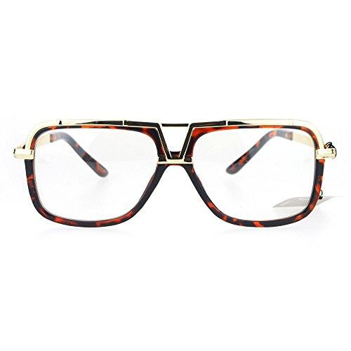 (SA106 Mens Racer Pilot Retro Hip Hop Rapper Clear Lens Glasses Tortoise Gold)
