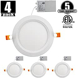 6 Inch Slim LED Downlight Dimmable 12W (=100W) LED Recessed Lighting, 950LM 5000K Daylight White cETLus Listed Recessed Trim Ceiling Light Fixture 4 Pack 5000K Daylight
