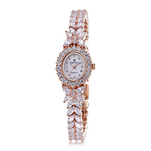 Royal Crown Women's Crystal-Accented Luxury Silvery-Tone Bangle Series Women Fashion Wrist Watch ()