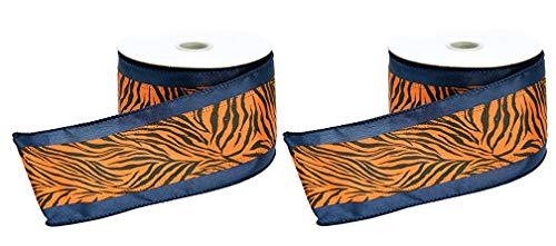 (Tiger Stripes Navy Blue & Orange Satin Wired Ribbon #40-2.5