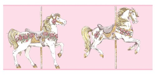 York Wallcoverings YS9138BD Peek-A-Boo Toile Carousel Horse Border, Pink/White/Deep Pink/Medium Green/Gold Tone Yellow