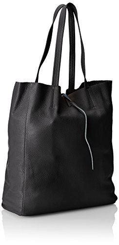 Ctm Italy In Black nero Cm Tote Made Soft Leather 33x35x15 Bag Woman's Genuine wtF8Hrtq