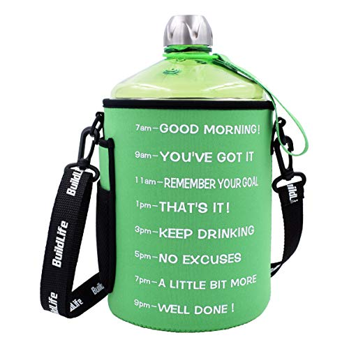 (BuildLife 1 Gallon Water Bottle Motivational Fitness Workout with Time Marker and Sleeve Drink More Water Daily   Clear BPA-Free   Large 128OZ Throughout The Day(1 Gallon-Green with Sleeve, 1 Gallon))