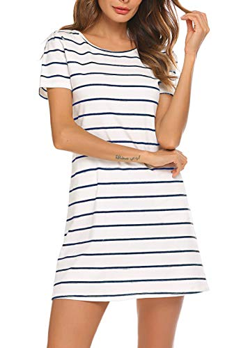 (Feager Women's Casual Striped Criss Cross Short Sleeve T Shirt Mini Dress with Pockets (M, White Blue))