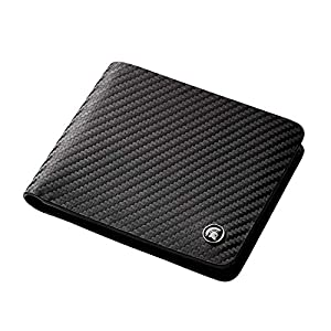 POWR Leather Wallet, RFID Blocking Carbon Fibre Bi-fold Card Holder, with Gift Box (Black)