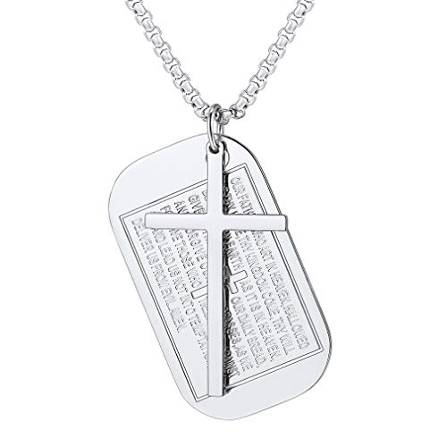 FaithHeart Jewelry Cross Pendant Necklace, Stainless Steel Bible Verse Dog Tag Charms Necklace Accessories (Silver) (Pendant Silver Dog Tag Charm)