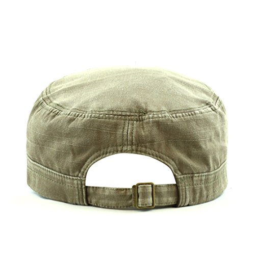 The Hat Depot 200H5148 Leather Accent Cadet Hat with Metal Beads (Olive)
