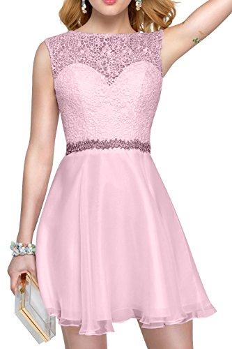 Abendkleider Festlichkleider Promkleider La mia Spitze Rosa Kurzes Rock Brau A Mini Perlen Linie Damen Partykleider Tanzenkleider 8wXAq4w