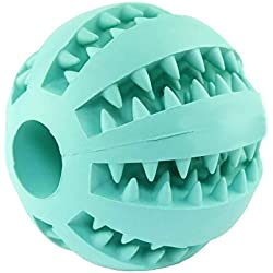 "Durable Dog Ball Toys, Squeaker Spiky Ball Squeaky Pet Dog Toy for Tooth Cleaning, Training, Play Fetch, Boring (Blue 2.5"" Squeaker Ball)"