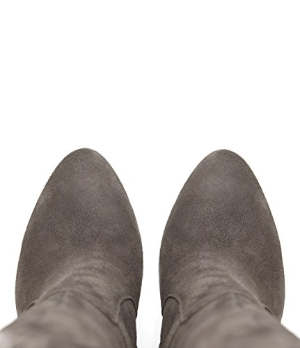 PoiLei Olivia - chaussure femme / classiques bottes en cuir à talon aiguille haut - avec bout rond / elegantes et sophistiquées taupe-gris