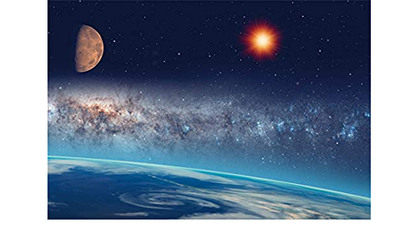 YEELE 7x5ft Nebula Backdrop Giant Meteor with Train Nearest of Planet Earth Photography Background Sci-fi Event Space Theme Birthday Kids Adults Artistic Portrait Photoshoot Props