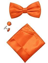 Mens Solid Stain Pre-tied Tuxedo Bow Tie Cufflinks Pocket Square Set By JAIFEI (Orange)