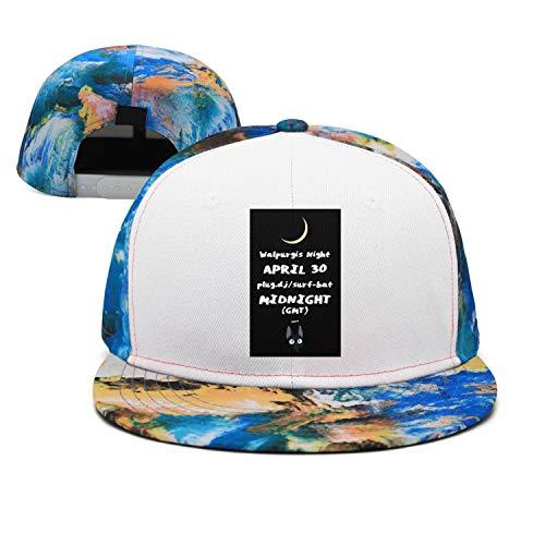 Blue Walpurgis Night Black cat Moon Unisex Stylish Cotton Flat Cap Adjustable Fits Hip Hop Snapback Hats
