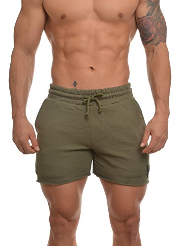 Youngla Men's French Terry Solid Bodybuilding Gym Running Workout Shorts Olive - Green Olive Football
